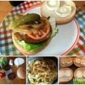 hamburgusa vegetal - Hamburgesa vegetal con queso de cabra y cebolla pochada