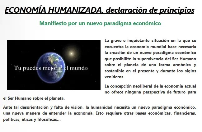 manifiesto economia humanizada - Economía Humanizada: encuentro en Valencia 2012