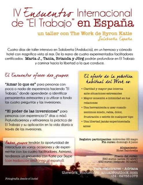 The Work cartel - IV ENCUENTRO INTERNACIONAL THE WORK EN ESPAÑA. Entrevista a Maria Jesús Concha