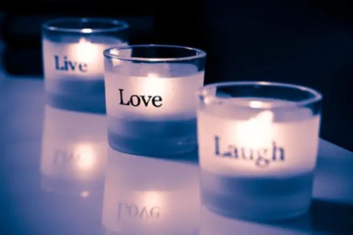 vivir reir amar - Live-Love-Laugh tealights. ProPhoto RGB color space