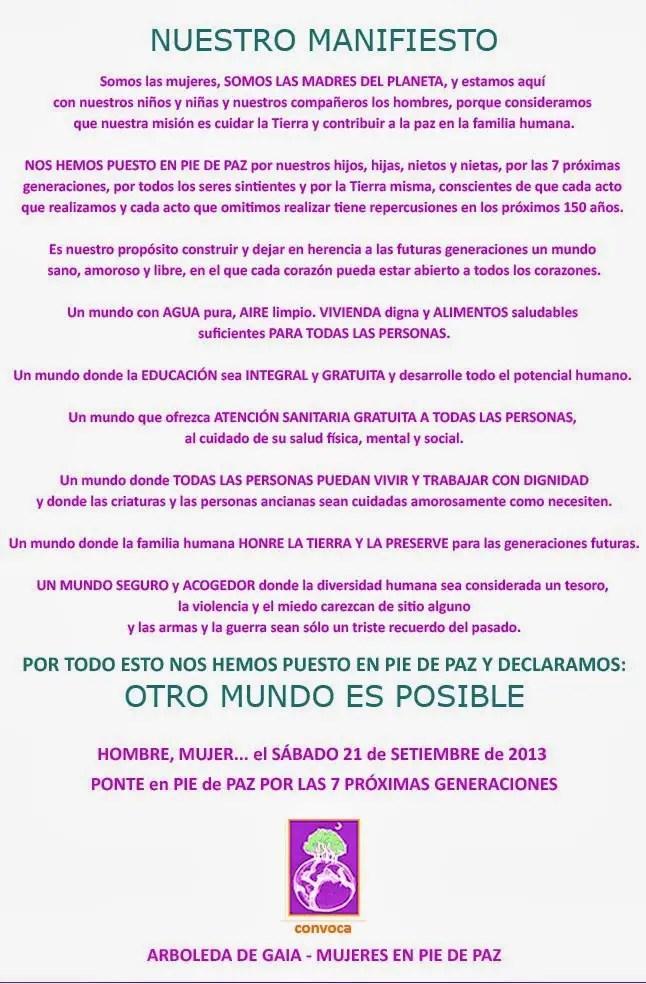 Mani Final B N - Mujeres en pie de paz: 21 de septiembre 2013 en varias ciudades