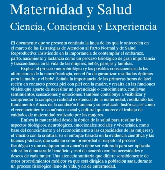 maternidad y salud2 - MATERNIDAD Y SALUD: ciencia, conciencia y experiencia. Pdf gratuito
