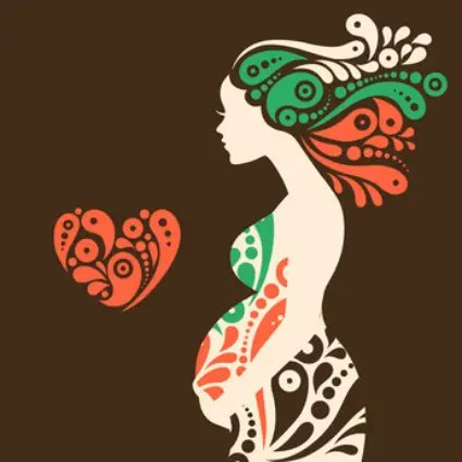 embarazo - Pregnant woman silhouette with abstract decorative flowers and heart symbol