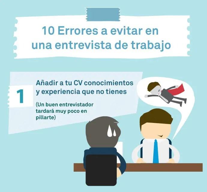 10 errores en entrevistas de trabajo - error 1