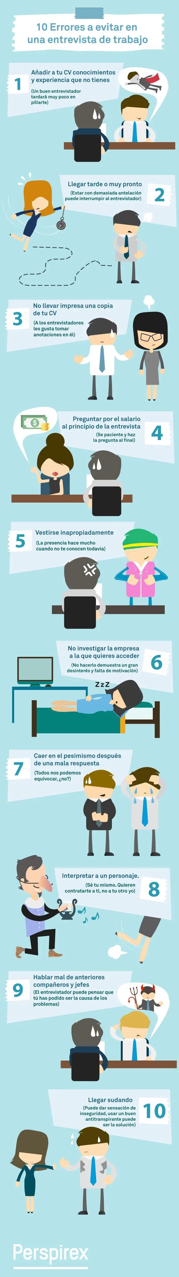 10 errores en entrevistas de trabajo - 10 errores a evitar en una entrevista de trabajo (Infografía)