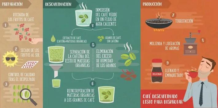 Infografia descafeinación con agua - Café café... también sin cafeína