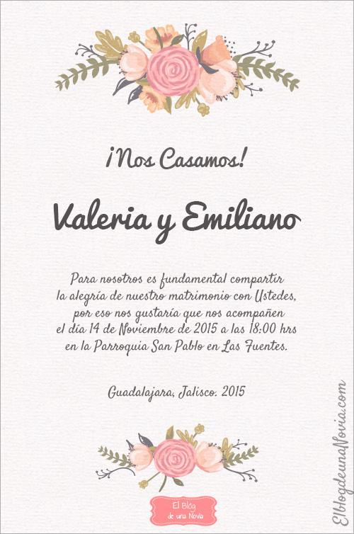 invitaciones de boda en espanol ejemplos