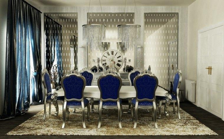 comedor en blanco, gris y azul