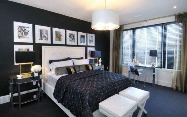 dormitorio en blanco, gris y azul