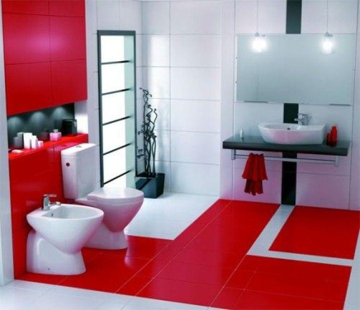 Decoración baño rojo y blanco