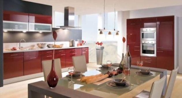 decoración cocina en rojo y blanco