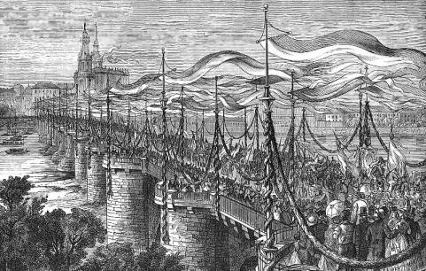 Festumzug auf der Augustusbrücke, 1865