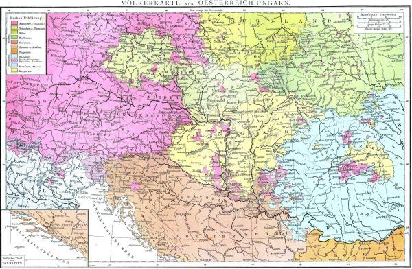 Cartina etnica Impero Austro-Ungarico 1880