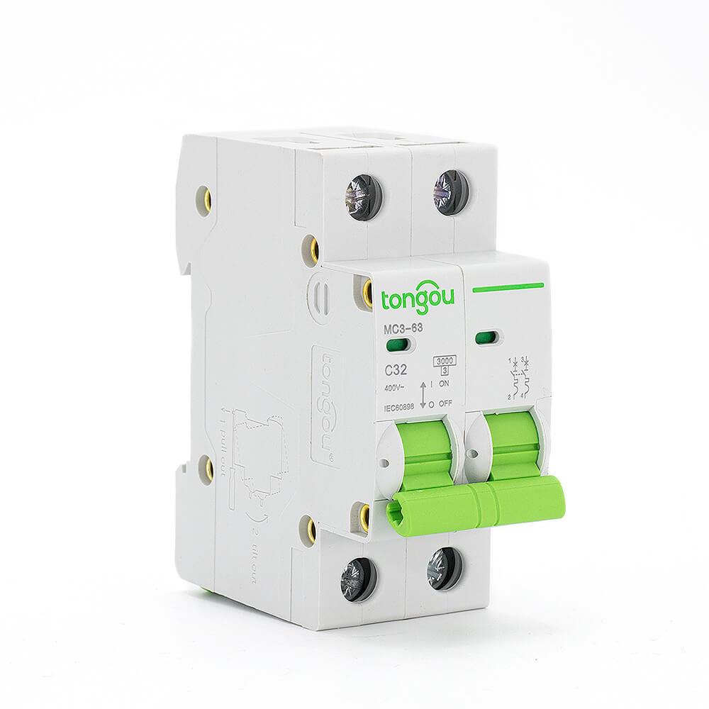 medium resolution of tomc3 63 3ka curve c ac voltage 110v 220v 2p 32a mcb miniature circuit breaker