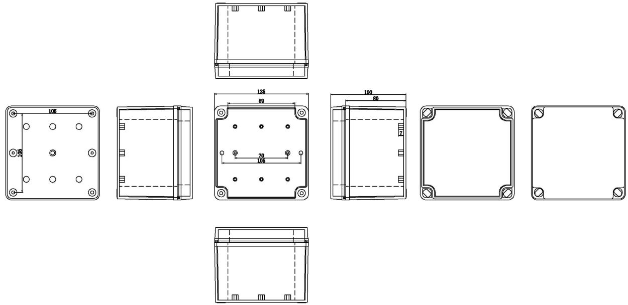 IP67 125*125*100 mm Waterproof Electrical Plastic Junction