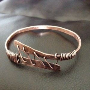 Laced-up copper bracelet