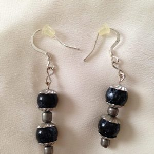 Dark blue bead drop Earrings