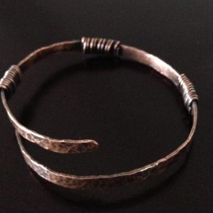 Hand crafted, adjustable, copper bracelet