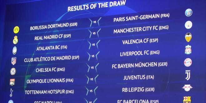 رابطة ابطال اوروبا .. ليفربول وأتلتيكو مدريد وريال مدريد مانشستر سيتي..  قرعة ثمن نهائي البطولة