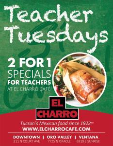 Teacher Tuesdays 2 for 1 @ El Charro Café
