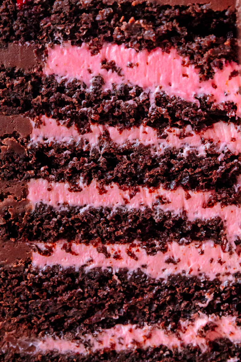 CHOCOLATE CAKE WITH CREAMY BLACKBERRY FILLING AND CHOCOLATE GANACHE