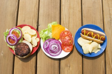 Hot Dog, Hamburger, and Chips on Red, White, and Blue Plates