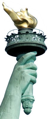 Statue of Liberty Holding a Torch in Her Right Hand