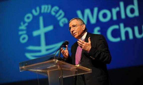 LWF President Younan greets the WCC Assembly. Photo: Peter Williams/WCC