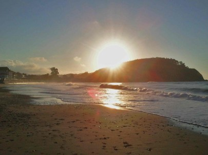 Atardecer en la playa de Ribadesella