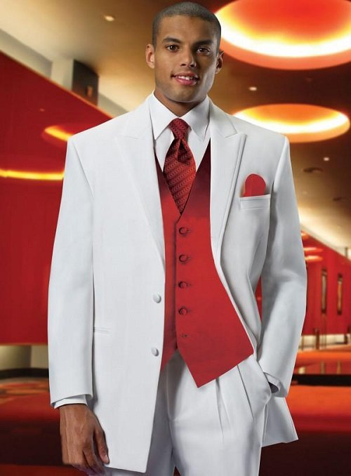 Light grey tux to match with red