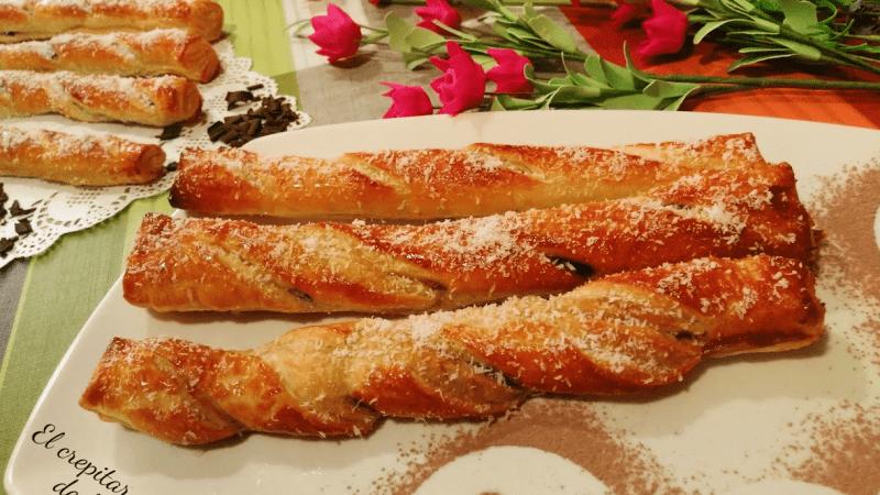 FLAUTAS DE COCO Y CHOCOLATE (con hojaldre)