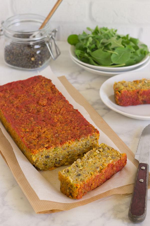 Pastel de quinoa, lentejas y verduras