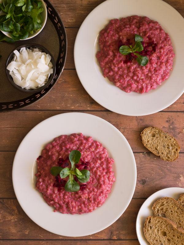 Risotto de remolacha con arroz integral