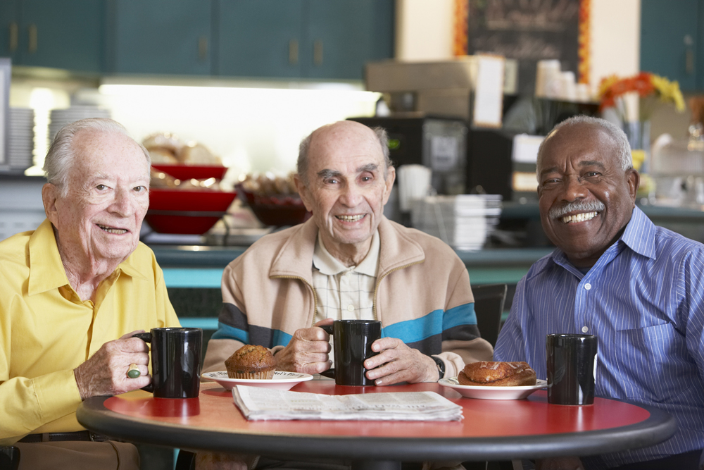 Senior Men Friends Drinking Coffee and Eating Together Ways to Maintain a Healthy Diet for Seniors