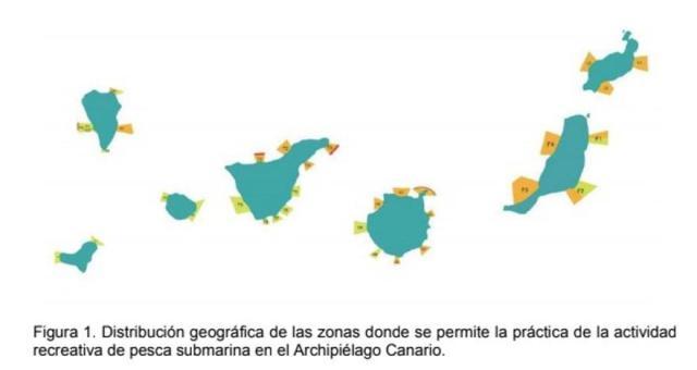Mapa elaborado por la ULPGC en su estudio titulado: 'Estimación del impacto de la pesca submarina de recreo en la zonas acotadas para dicha actividad en el Archipiélago'.