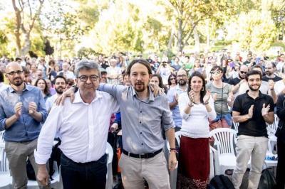 Acto de Pablo Iglesias y Jean Luc Mélenchon en Madrid el 2 de julio de 2018.