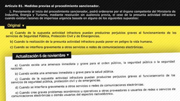 Cambios que el decreto-ley introduce en la Ley General de Telecomunicaciones de 2014.