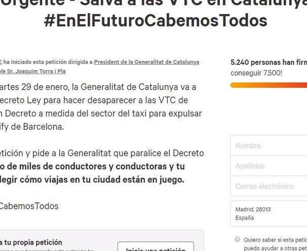 Campaña en Change.org para frenar el decreto de la Generalitat de Catalunya sobre la precontración de 15 minutos de un servicio de VTC.