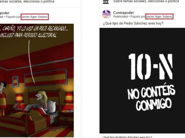 Dos anuncios en la página 'Contrapoder', que fingía estar promovida por simpatizantes próximos a Podemos críticos con el pacto con el PSOE.