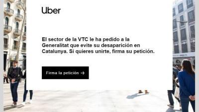 Correo que Uber ha mandado a sus clientes pidiendo su firma de apoyo para frenar las medidas catalanas sobre VTC.