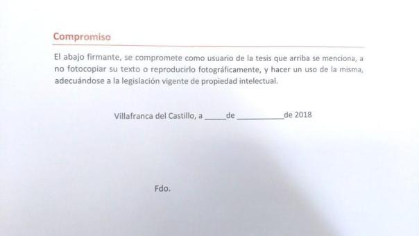 Formulario de solicitud para consultar una tesis doctoral en biblioteca de la Universidad Camilo José Cela