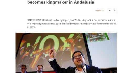 """""""En la primera vez después de Franco en España, un partido de extrema derecha se convierte en 'hacedor de reyes' en Andalucía"""", titula 'Reuters'"""