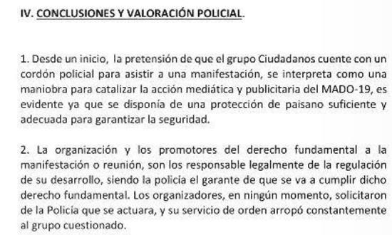 Informe policial sobre los incidentes protagonizados por Ciudadanos en el Orgullo 2019