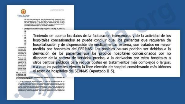 Parte del anteproyecto del informe de fiscalización de gasto sanitario en Madrid (2011-2015).