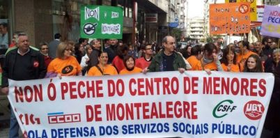 Protesta en Ourense contra el cierre del centro de Montealegre, en 2012
