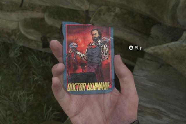 """Una carta coleccionable de 'The Last of Us II' donde se parodia al director del juego, Neil Druckmann. Le describen como """"un investigador muy respetado""""  que realiza experimentos llevando a las personas """"más allá de los límites humanos""""."""