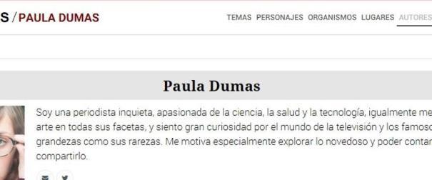 El perfil de Paula Dumas
