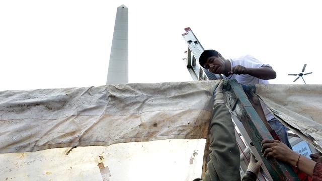 21-4-2014 Carpa de la corriente villera independiente en el obelisco Foto: Gerardo Dell'Oro