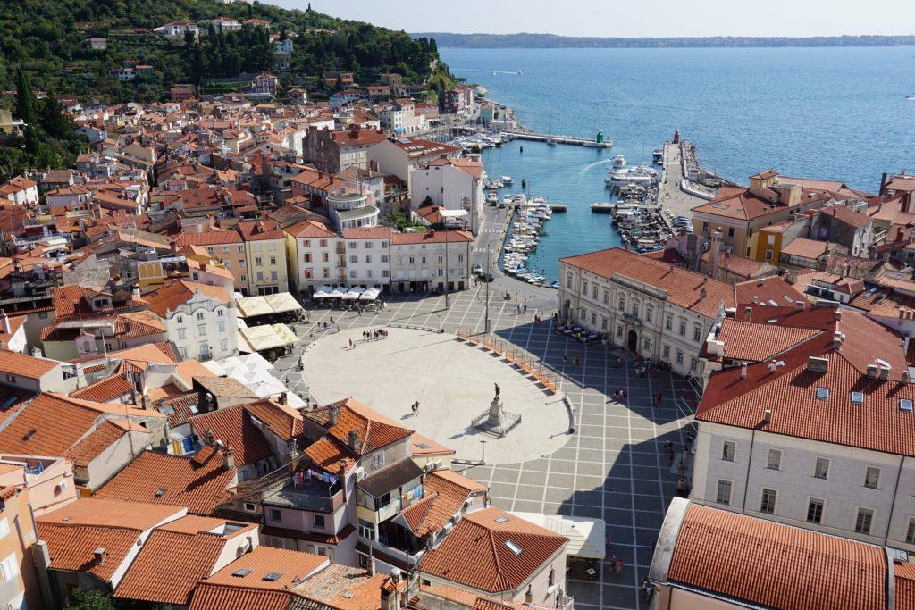 La plaza Tartini desde el campanario de San Jorge