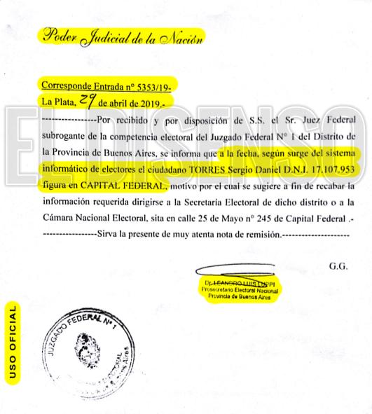 Respuesta Justicia Electoral sobre domicilio Torres